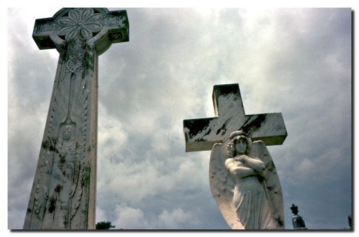 Dramatic view of Angel and Crosses.